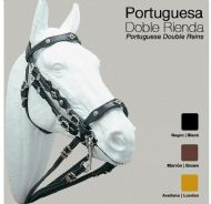 Portuguese double bridle with metal decorations
